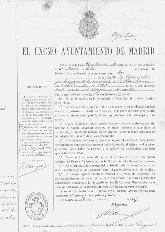 BMaría Antón abre su despacho de carbón, 1865