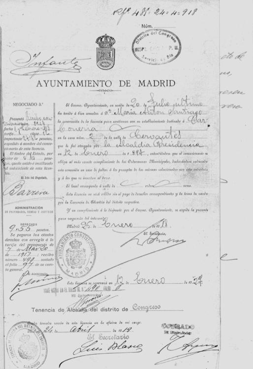Renovación de la carbonería de María Antón, 1918