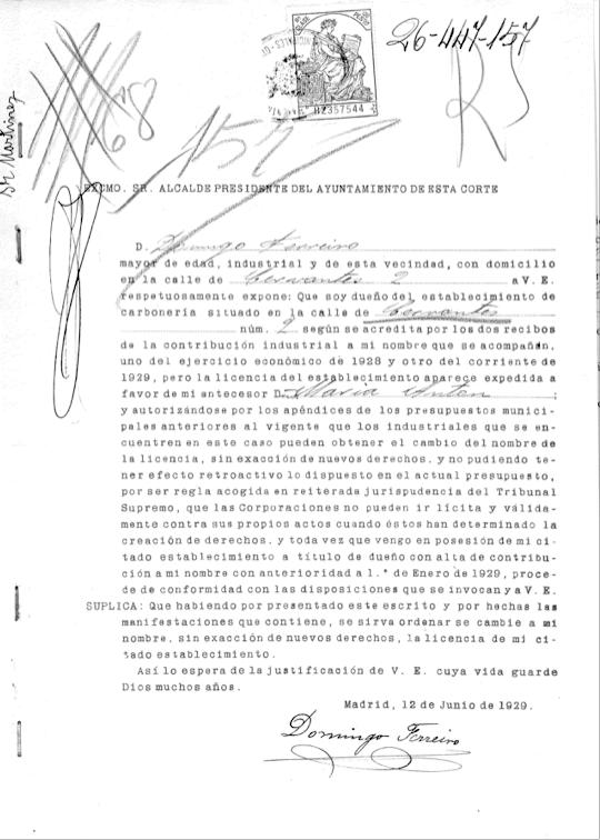 Domingo Ferreiro solicita poner su nombre en la propiedad de la carbonería, 1929