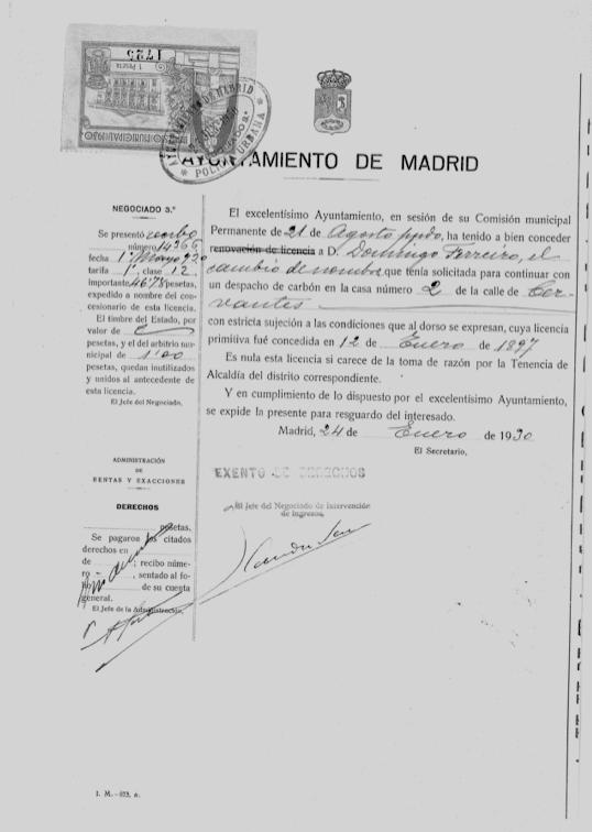 Domingo Ferreiro solicita poner su nombre ne la carbonería de María Antón, 1930