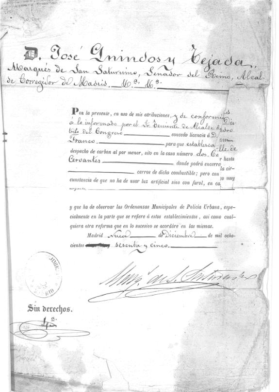 María Antón abre su despacho de carbón, 1865